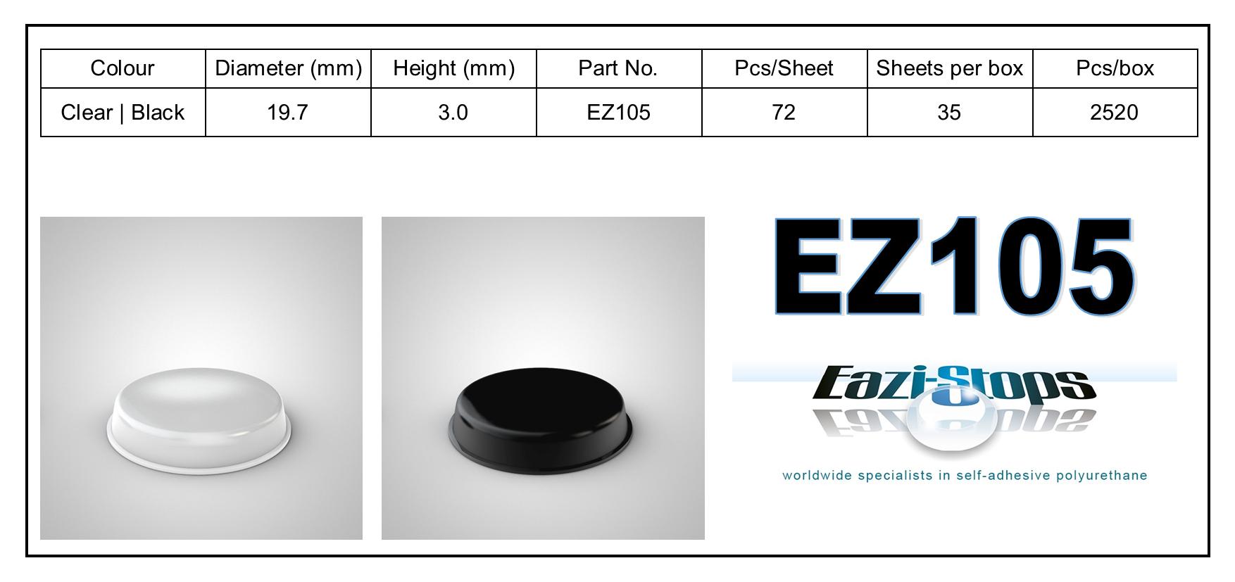 EZ105 - stick on rubber pads