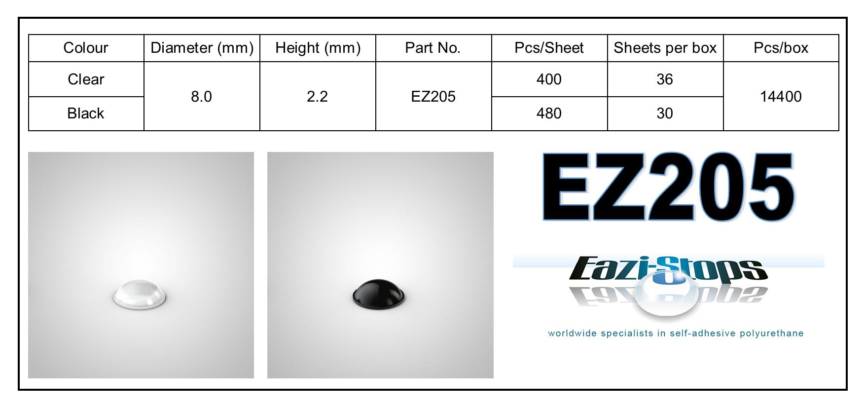 EZ205 - stick on rubber pads