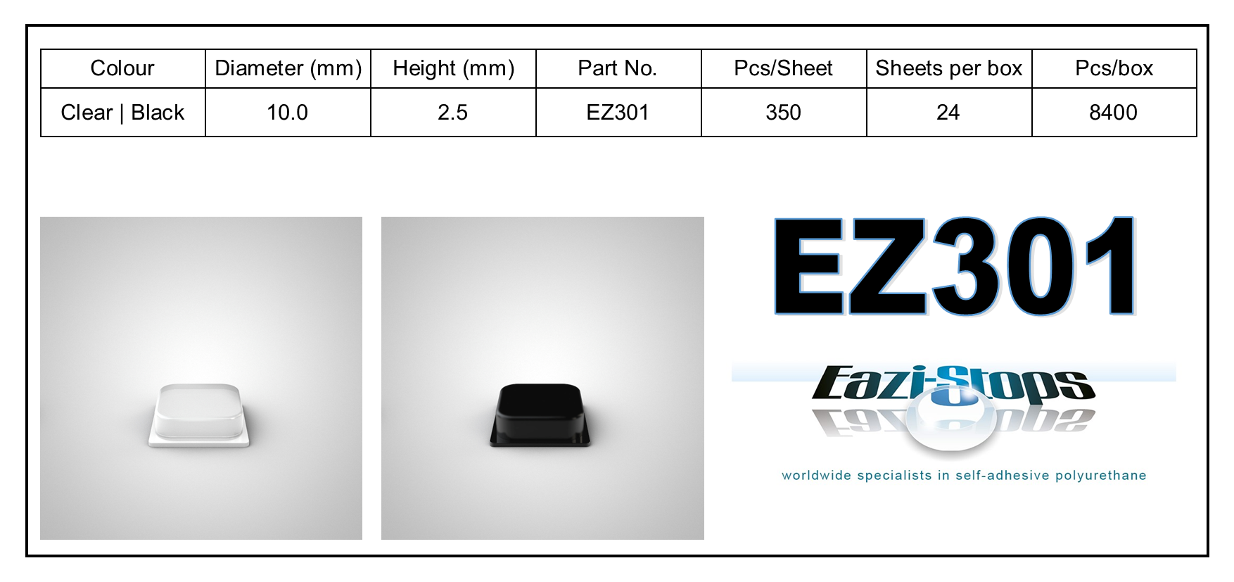 EZ301 - stick on rubber pads