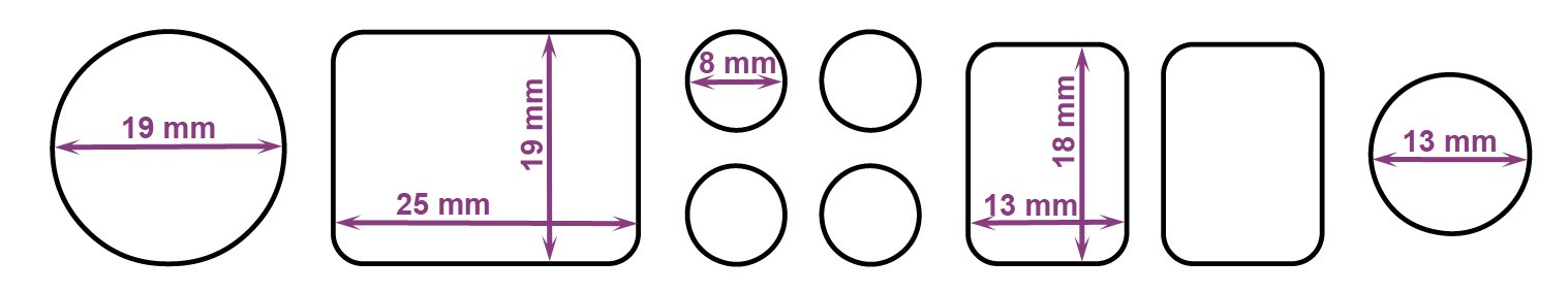 Universal Multipack Bumper Feet Sheets - Dimensions